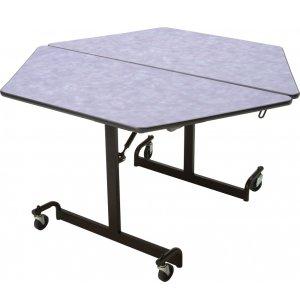 Mobile Hexagon Cafeteria Table - Black Legs