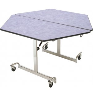Mobile Hexagon Cafeteria Table - Chrome Legs