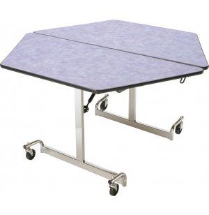 MIT Mobile Hexagon Cafeteria Table - Chrome Legs