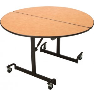 Mitchell Cafeteria Table 48in Round Top Black Legs