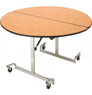 Mobile Round Cafeteria Table - Chrome Legs