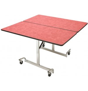 Mobile Square Cafeteria Table - Chrome Legs