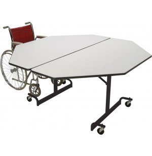 Mobile Octogon Cafeteria Table - Black Legs