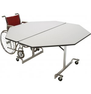 Mobile Octogon Cafeteria Table - Chrome Legs