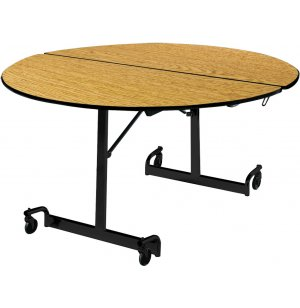 Mobile Round Cafeteria Table - Black Legs