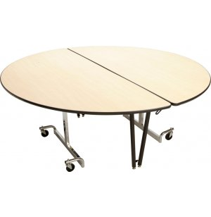 Mobile Round Cafeteria Table- Chrome Legs
