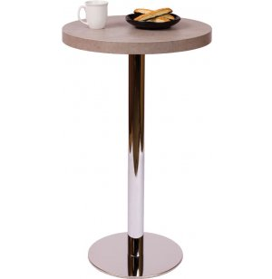 Bar-Height Round Cafe Table - Round Chrome Base
