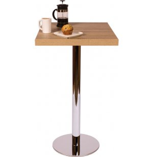 Bar-Height Square Cafe Table - Round Chrome Base