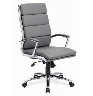 Merak Leather High Back Office Chair - Chrome Frame