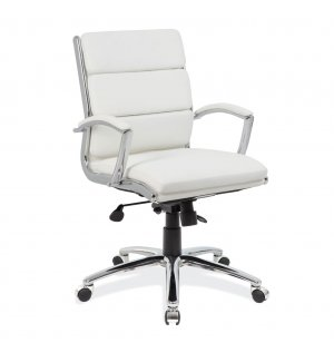 Merak Leather Mid Back Office Chair - Chrome Frame
