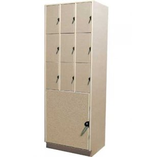 9 Equal Compartments over 1 Large Compartment Solid Doors