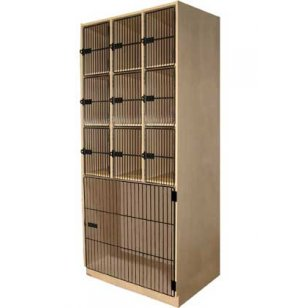 Instrument Locker - 9 Cubbies, 1 Large Cabinet, Grille Doors