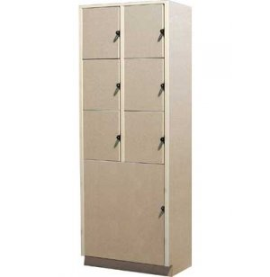 6 Equal Compartments over 1 Large Compartment Solid Doors