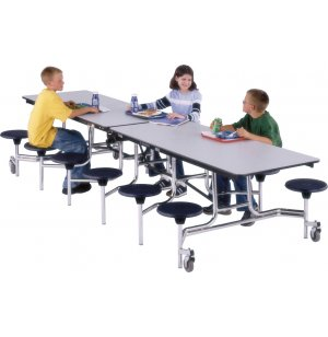 Mobile Cafeteria Table- 16 Stools, Chrome, Permatuff, 145