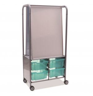 MakerHub Cart with 4 Deep Antimicrobial Trays
