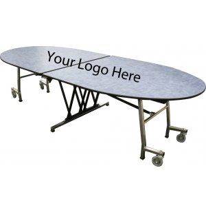 Stow-Away Folding Oval Cafeteria Table