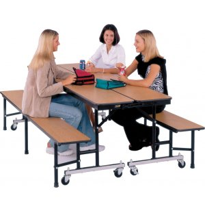 Mobile Convertible Bench Table - Locking Connectors, 8'