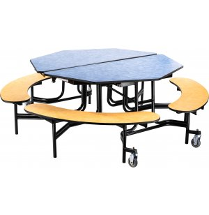 Folding Octagon Bench Cafeteria Table - Plywood