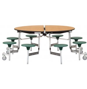 Folding Round Cafeteria Table - Plywood, Chrome, 8 Stools