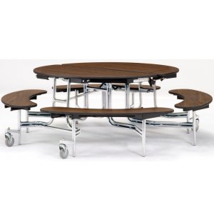 "NPS Folding Round Bench Cafeteria Table - Chrome, 60"" dia."