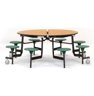 Round Cafeteria Table - Plywood, ProtectEdge, 8 Stools