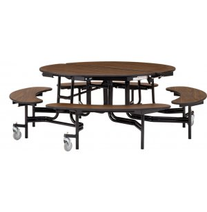 Folding Round Bench Cafeteria Table - Plywood, 60