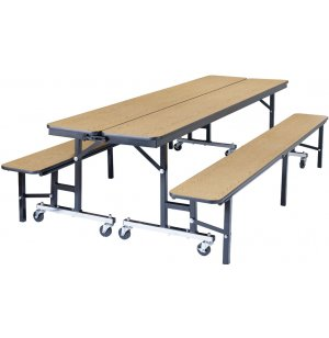 Convertible Bench Cafeteria Table - Plywood, T-Mold
