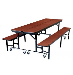 NPS Convertible Bench Cafeteria Table - Plywood, T-Mold