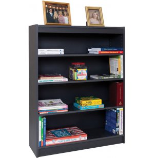 Reinforced Shelf Gray Laminate Bookcase with 2 Shelves