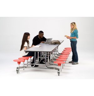 NPS Cafeteria Table- Chrome, MDF, ProtectEdg, 16 Stools