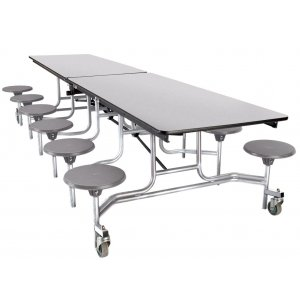Cafeteria Table - Chrome, Plywood Core, 12 Stools