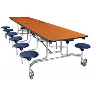 NPS Cafeteria Table- Chrome, MDF, ProtectEdg, 12 Stools