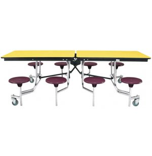 NPS Cafeteria Table w/ Chrome Frame, Plywood Core, 8 Stools