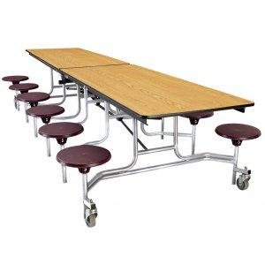 Cafeteria Table - Chrome Frame, 12 Stools