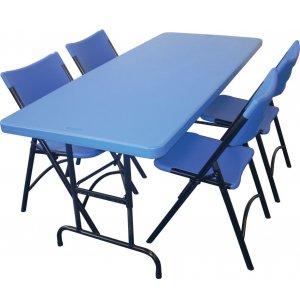 Colored Blow-Molded Ht-Adjustable Table & 4 Chairs