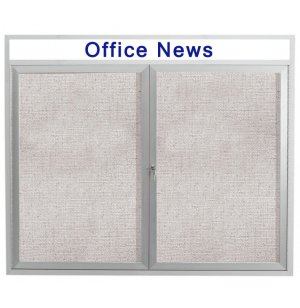 Weatherproof Illuminated Cork Board 2-Door w/Header