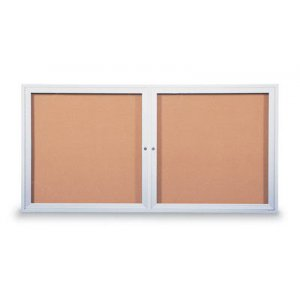 Outdoor Illuminated Cork Board - 2 Door