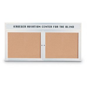 Outdoor Illuminated Cork Board 2-Door w/Header