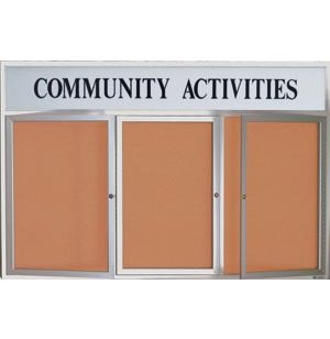 Outdoor Illuminated Cork Board 3-Door w/ Header