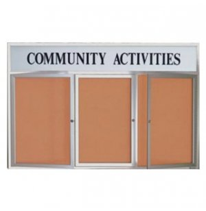 Outdoor Illuminated Cork Board 3-Door w/Header