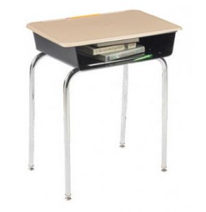 Premium Open Front School Desk - Hard Plastic Top