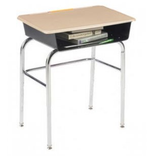 Premium Open Front School Desk - Hard Plastic Top, U Brace
