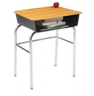Premium Open Front School Desk - WoodStone Top, U Brace