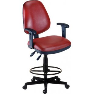 OFM Vinyl Swivel Stool with Arms