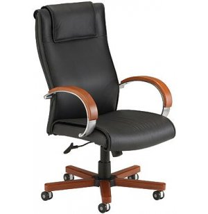 Executive Leather &Wood Hi-Back Office Chair