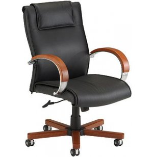Exec Leather Mid Back Office Chair- Wood Trim