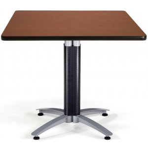 Square Cafe Table with Mesh Base Dining Height