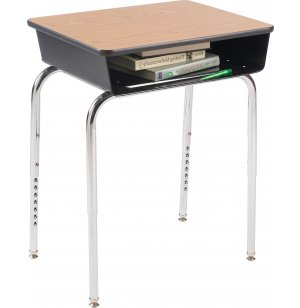 Deluxe Adj. Height Open Front School Desk - Laminate Top