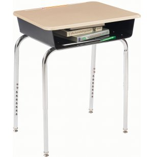 Deluxe Adj. Height Open Front School Desk - Hard Plastic Top