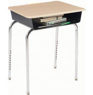 Deluxe Adj. Height Open Front School Desk - Hard Plastic Top